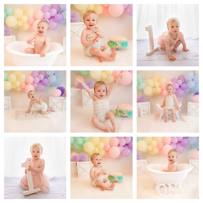 cake smash photography in surrey and hampshire with a pastel rainbow theme for a baby girl on her first birthday
