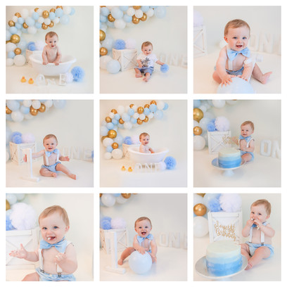 cake smash in hampshire with blue, gold and white balloons for an adorable baby boy in aldershot, hampshire near berkshire and surrey