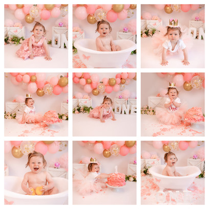 cake smash photography in surrey and hampshire with a pink and gold butterfly theme for a baby girl on her first birthday