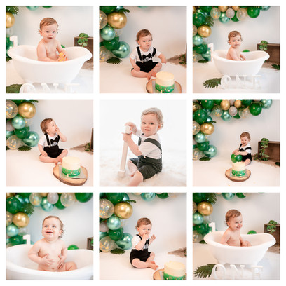 collage of cute redhead baby boy with big blue eyes having a safari jungle themed cake smash and smash photography session with green and gold balloons