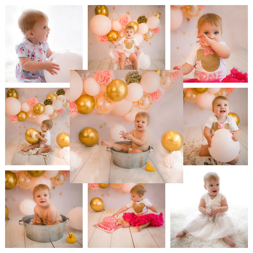 girly pink and gold themed cake smash photography session baby girl