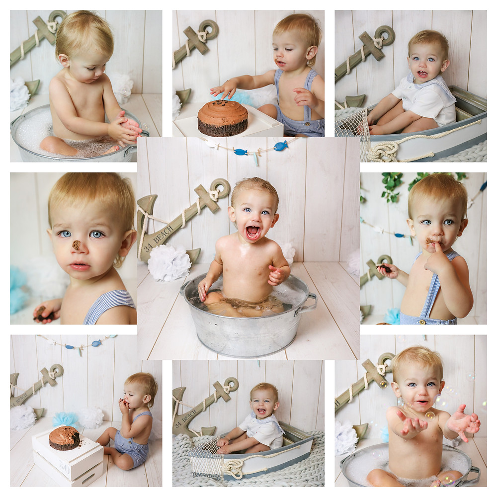 a collage of a sweet baby boy celebrating his first birthday with a nautical themed cake smash