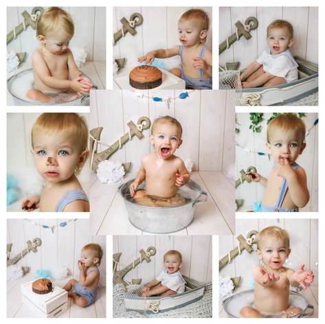 collage of cute blonde baby boy with big blue eyes having a nautical themed cake smash and smash photography session