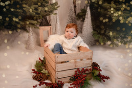 gorgeous baby boy sitting in a large wooden crate surrounded by red berries and pine cones