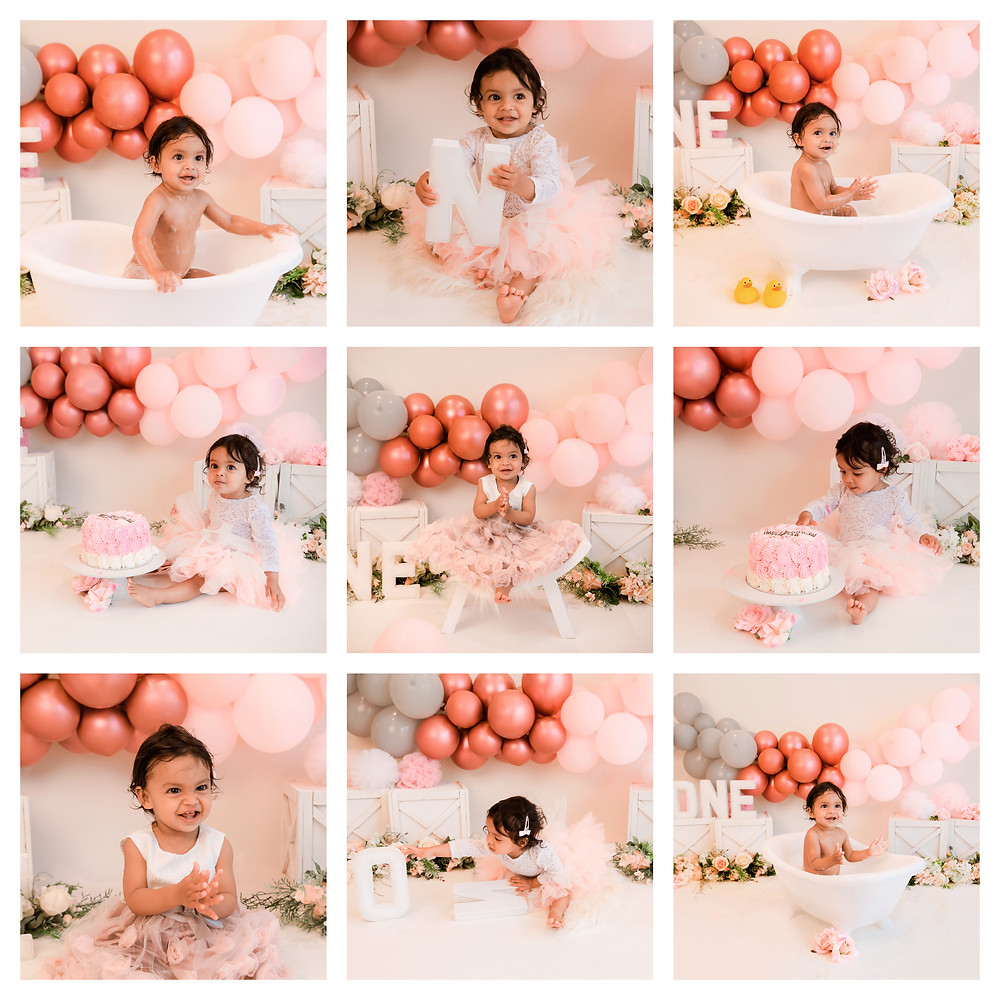 collage of pictures from a one year old's pink, coral and grey themed cake smash photoshoot in aldershot, hampshire