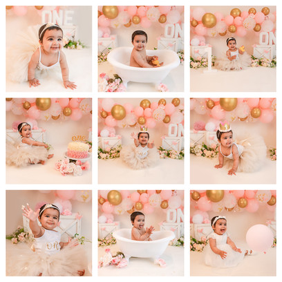 Gold pink and white Cake Smash photoshoot in Aldershot, Hampshire for a baby girl turning 1, decorated with pink balloons and pink flowers