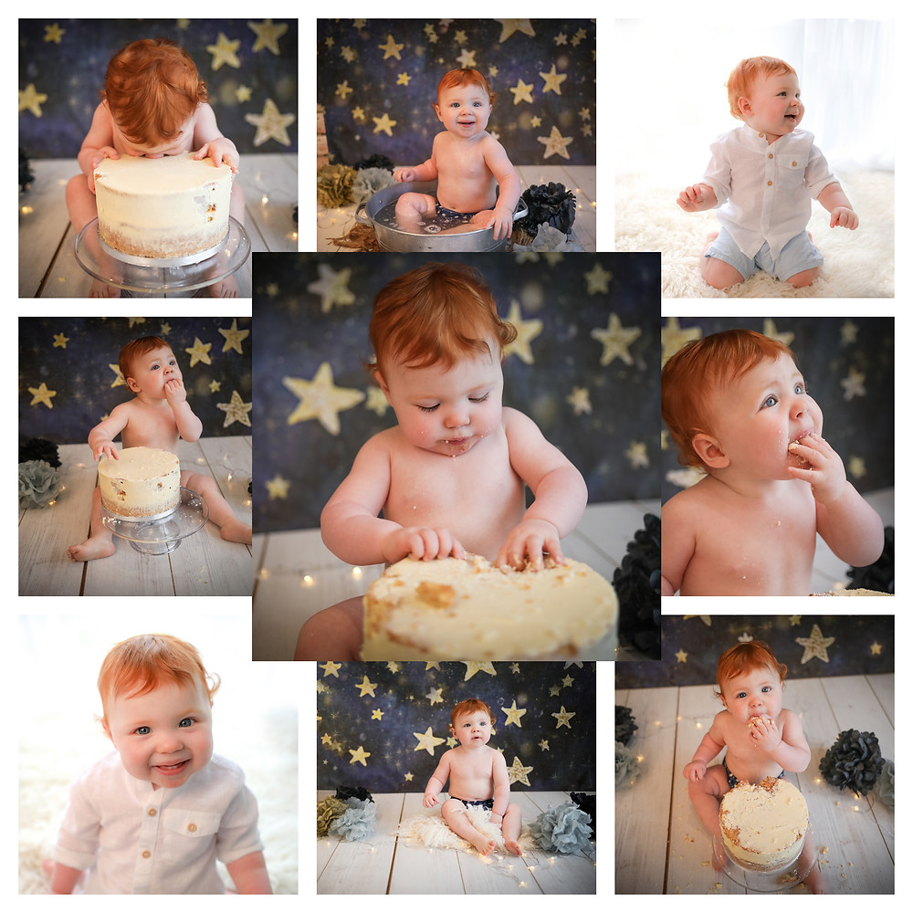 space themed cake smash photography session baby boy