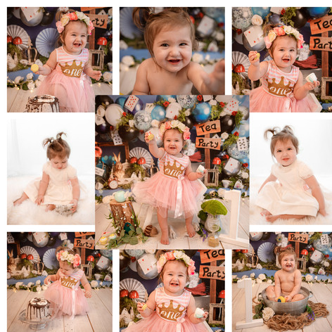cake smash in hampshire with an alice in wonderland tea party theme for a baby girl on her first birthday