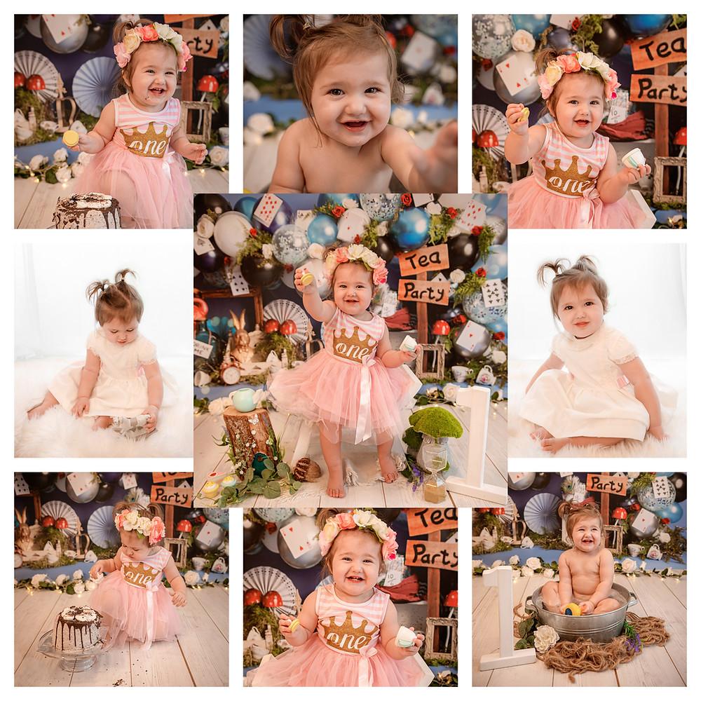 alice in wonderland themed cake smash photography session baby girl
