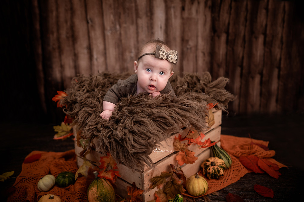 baby girl with blue eyes wearing a brown romper with matching headband, lying in a wooden crate surrounded by gourds and leaves