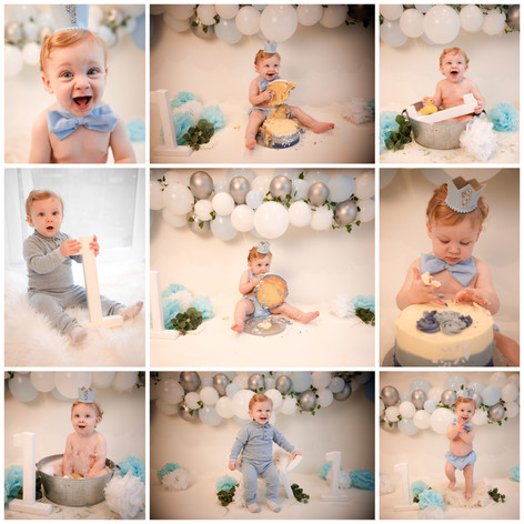 cake smash in hampshire with a blue, grey and white theme for a baby boy on his first birthday