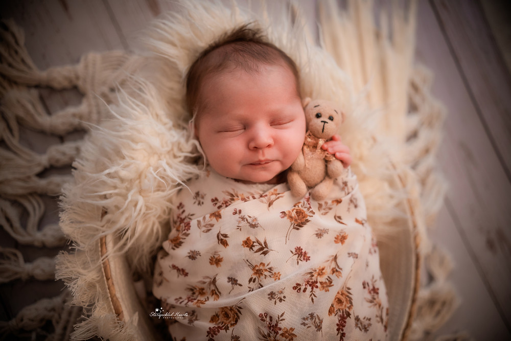 gorgeous newborn girl swaddled in a brown floral wrap, cuddling a small brown teddy