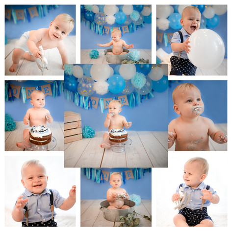 cake smash in berkshire with a blue and white theme for a baby boy