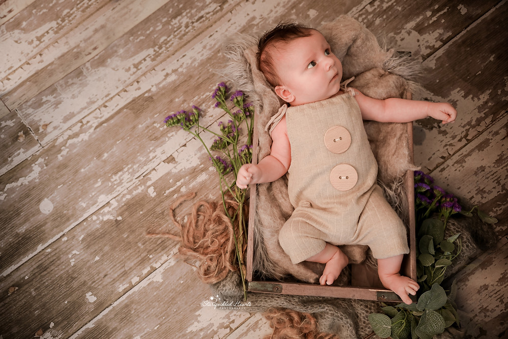 gorgeous baby boy laying in a brown crate wearing a brown romper