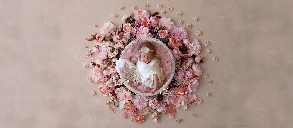 beautiful little baby girl lying in a basket surrounded by pink roses and flowers
