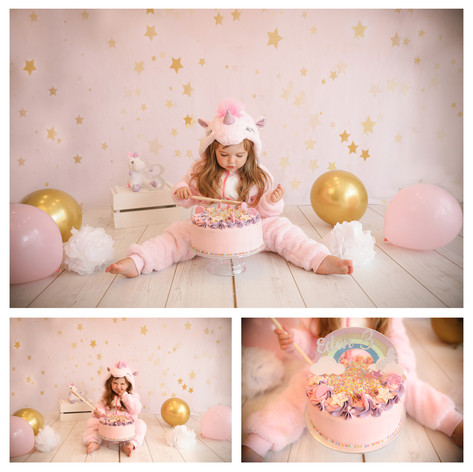 collage of cute dark haired baby girl with big brown eyes, wearing a pink unicorn romper suit, having a cute girly cake smash photography session