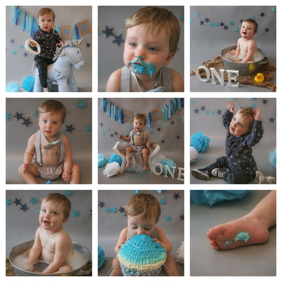 collage of cute redhead baby boy with big blue eyes having a blue and grey themed cake smash and smash photography session