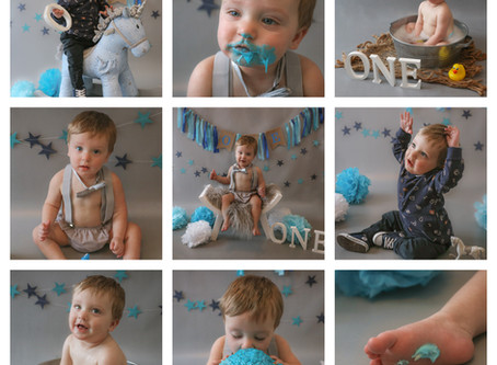 Cake Smash & Splash - Blue and Grey themed Cake Smash Session  | Starspeckled Hearts Photography