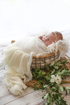 beautiful baby girl laying in a wire mesh basket wrapped in white