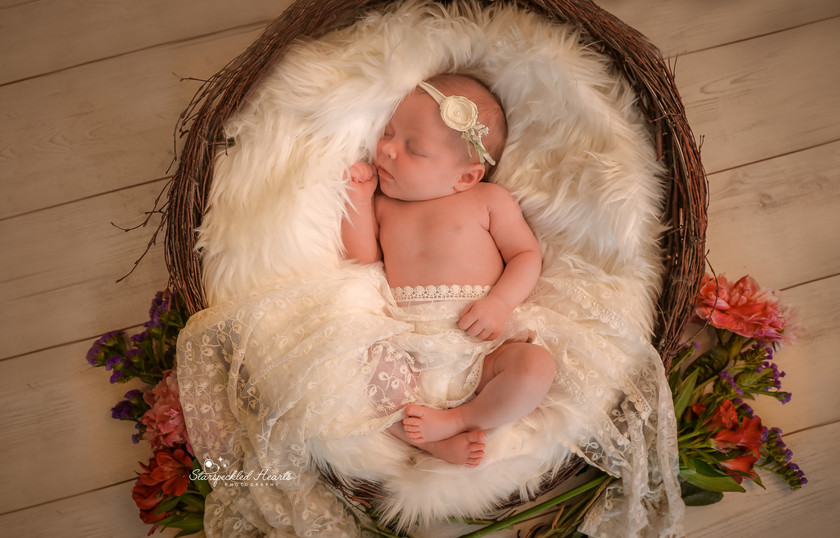sleepy newborn baby girl, laying in a large round wicker basket surrounded by flowers