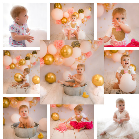 cake smash in surrey and hampshire with a pink, gold and white theme for a baby girl on her first birthday