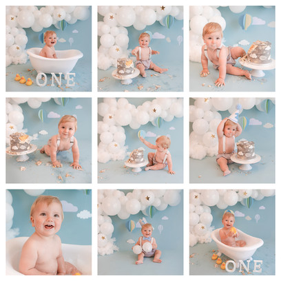 Hot air balloon themed cake smash in berkshire with a blue and white theme for a baby boy