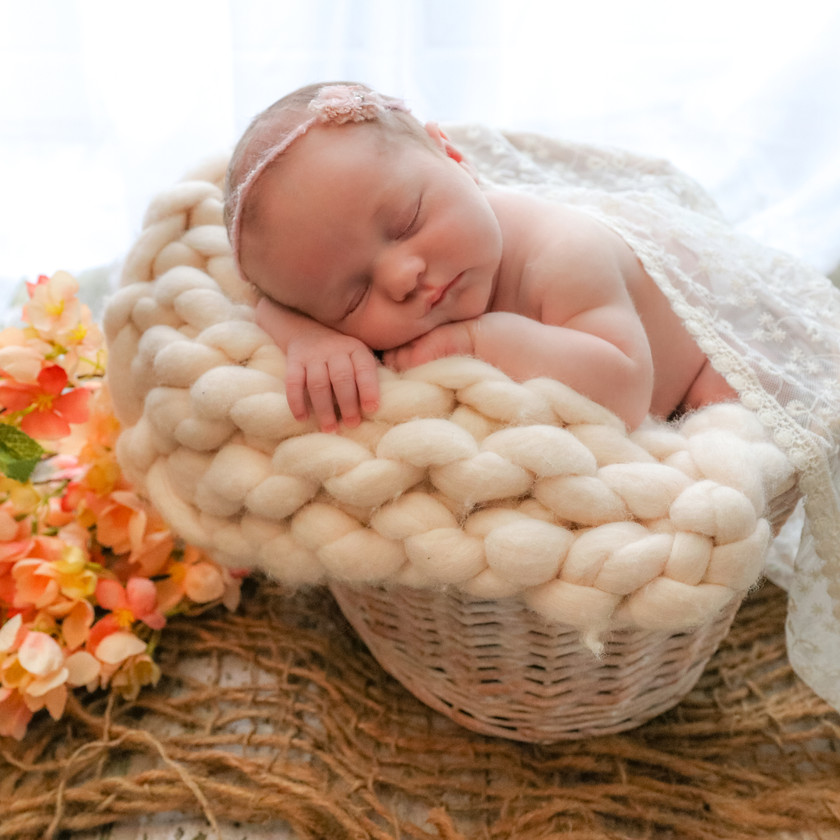 newborn girl laying in a basket with pink flowers