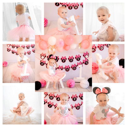 collage of cute pink and white minnie mouse themed cake smash session