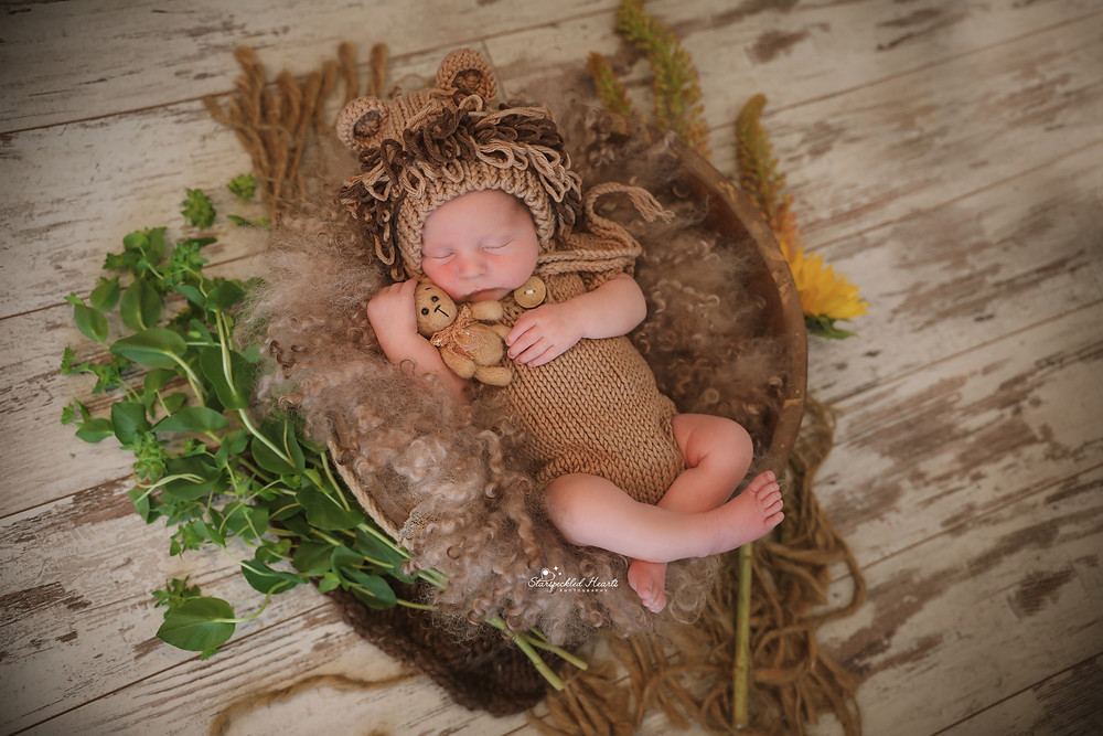 sleeping newborn cuddling a brown teddy, wearing a lion bonnet and matching knitted romper, lying in a wooden bowl surrounded by greenery and flowers