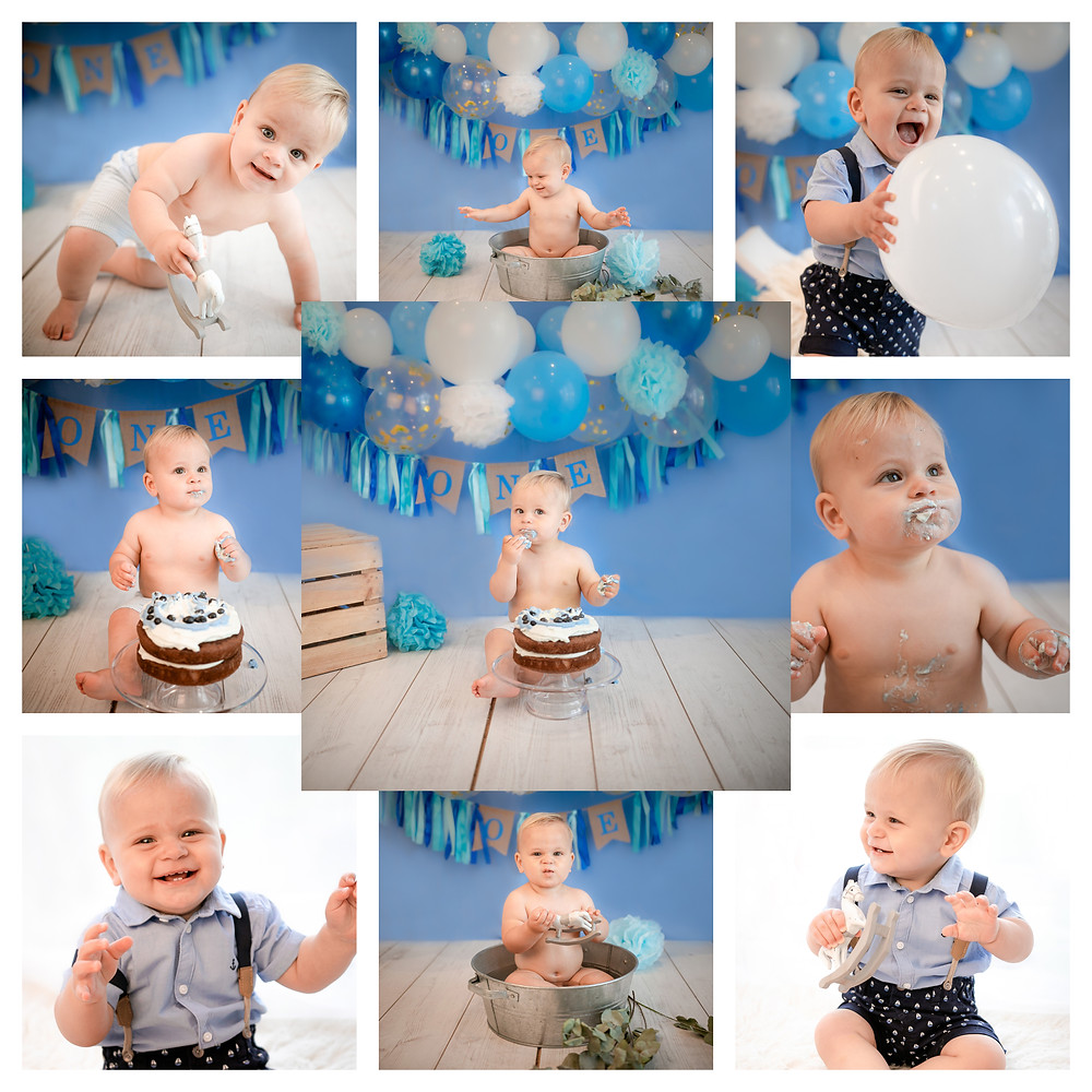 1st birthday cake smash session for adorable baby boy