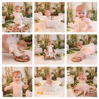 collage of cute blonde baby girl with big blue eyes having a woodland themed cake smash and smash photography session