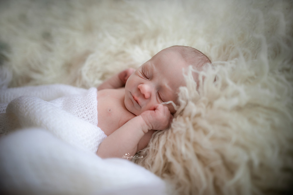 cute newborn baby lying on a white fluffy rug