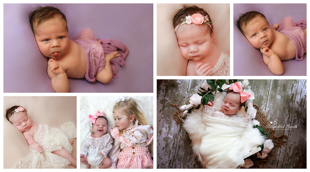 collage of beautiful baby girl at a newborn session