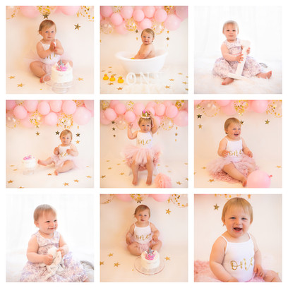 cake smash photography in surrey and hampshire with a pink and gold theme for a baby girl on her first birthday
