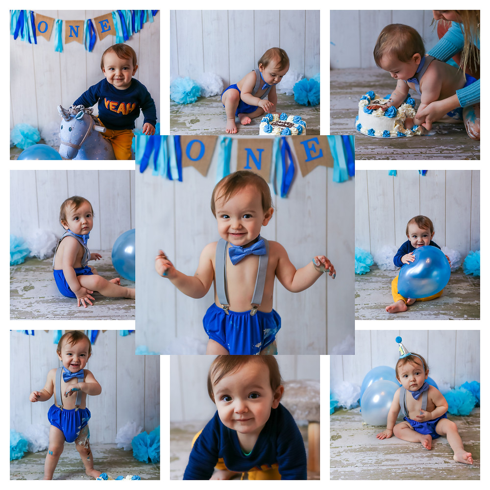 collage of smiling gorgeous baby boy with big brown eyes, celebrating his first birthday with a blue and navy themed cake smash