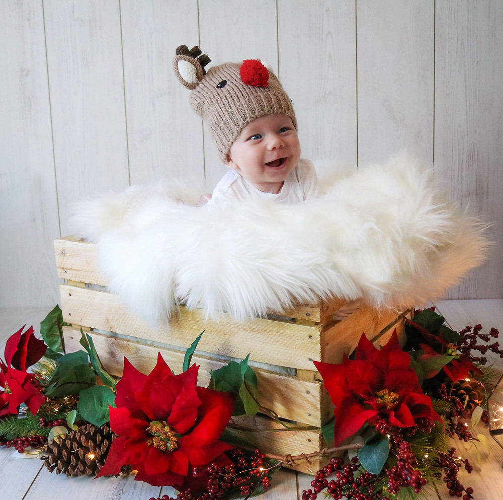 smiley baby boy lying in a wooden crate surrounded by poinsettia and pine cones