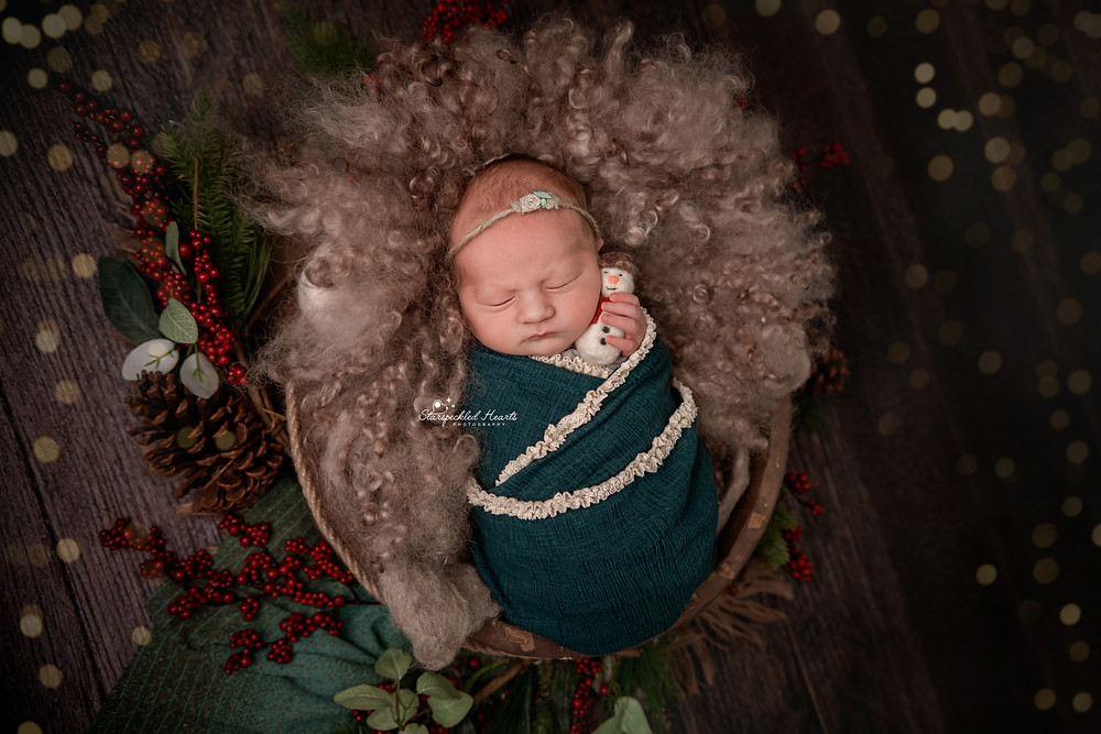 newborn baby lying in a crate surrounded by red berries and large pinecones, cuddling a snowman