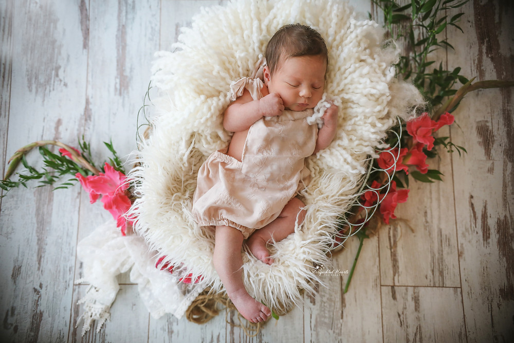 newborn wearing a cream romper, lying in a basket stuffed with white furry rugs