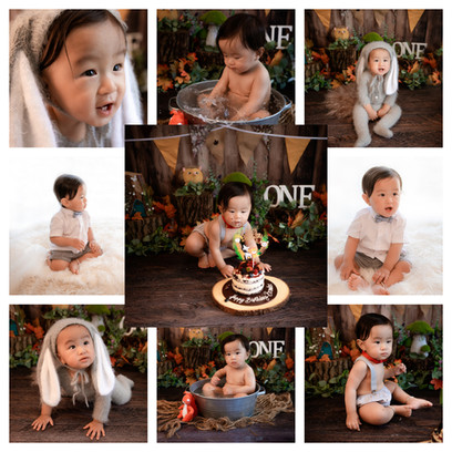 cake smash in hampshire with a woodland theme for a baby boy on his first birthday