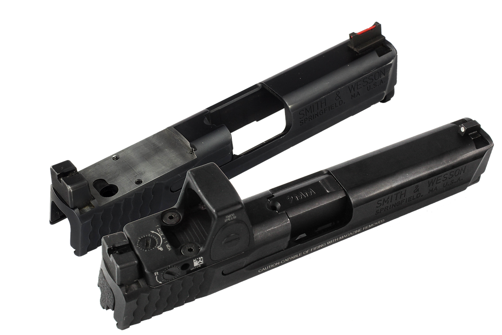 Smith and Wesson M&P slide cut for Trijicon RMR red dot sight.