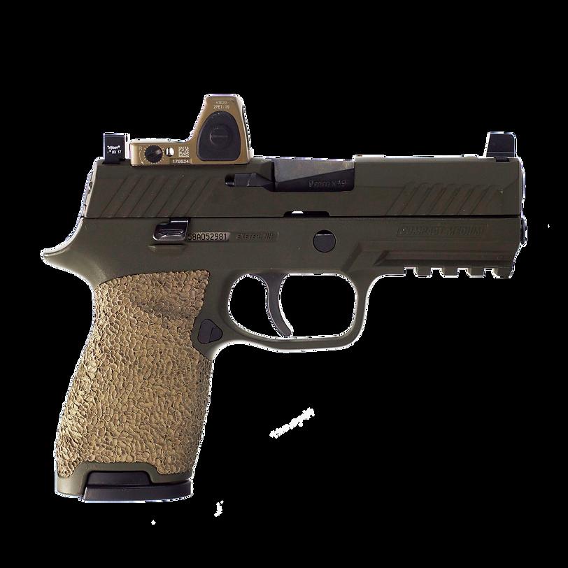 Custom Sig 320 with stippling, RMR cut slide, Trijicon RMR, Trijicon suppressor sights, and single undercut.
