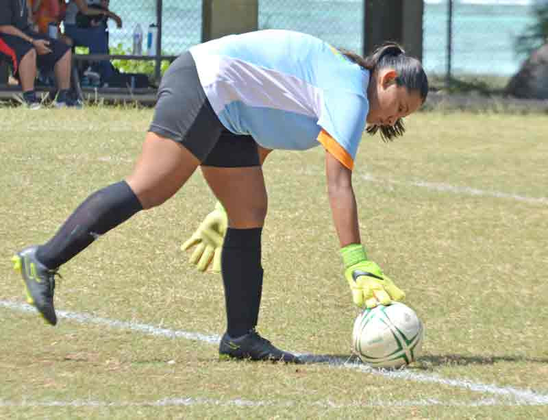 Kanoa Football Club's Theresa Toves prepares for a goal kick during the first half of their girls U16 game against Paire FC in the 2018 NMIFA Spring Youth League last Saturday at the Francisco M. Sablan Middle School Field. (Roselyn B. Monroyo)