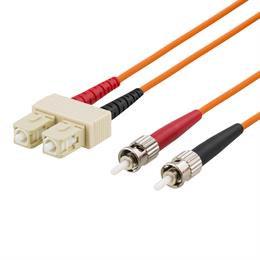 OM1 fiberkabel, SC - ST, duplex, UPC, 62,5/125, 1m, orange