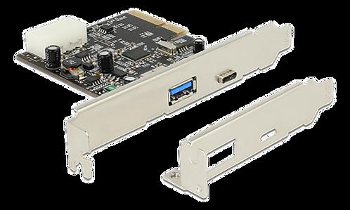 DeLOCK PCI-Express x2 3.0 kort, 1xUSB Typ C 3.1 Gen 2, 1xUSB Type A 3.1 Gen 2, A