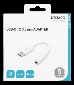DELTACO USB-C till 3,5 mm adapter, stereo, aktiv, 11 cm, vit