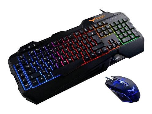 Havit HV-KB558CM - Sats med tangentbord och mus - bakgrundsbelyst - USB - nordis