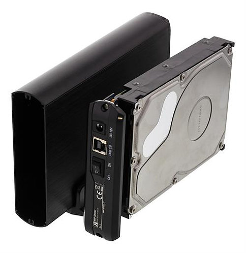 """DELTACO externt kabinett för 1x3,5"""" SATA-hårddisk, SATA 6Gb/s, USB 3.1 Gen1, alu"""