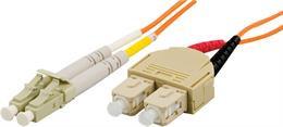 OM1 fiberkabel, LC - SC, duplex, UPC, 62,5/125, 2m, orange