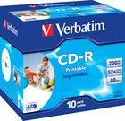 Verbatim CD-R, 52x, 700MB/80min, 10-pack, jewel case, AZO, printable