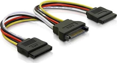 Y-strömadapter för 15-pin SATA-ström, för 2 hårddiskar, 10 cm